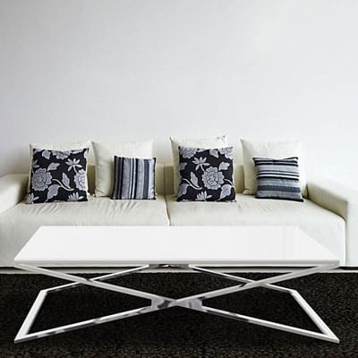 Oxana coffee table polished stainless steel from Akante White lacquered