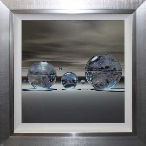 Silver Spheres Square Right Liquid Art 83cm X 83cm