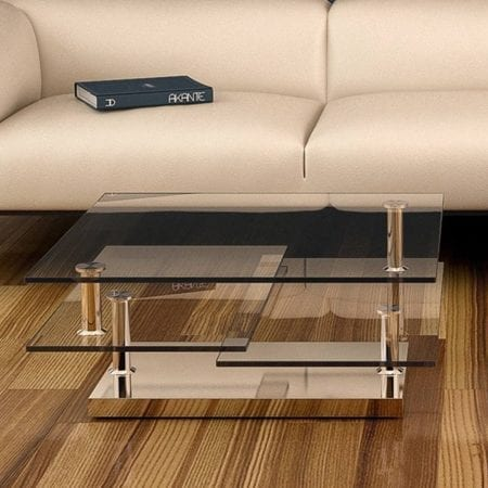 Square coffee table from Akante - Clear Glass