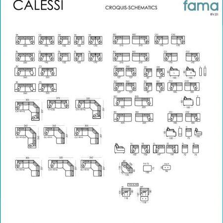 Calessi sofa dimensions from Fama - Mia Stanza