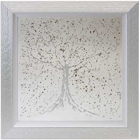 Silver Gold Tree Mirror With Liquid Art From Complete