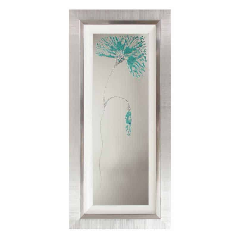 Teal flower mirror left with liquid art from complete for Teal framed mirror