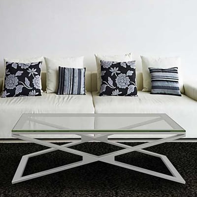 Oxana coffee table in brushed stainless steel - Clear