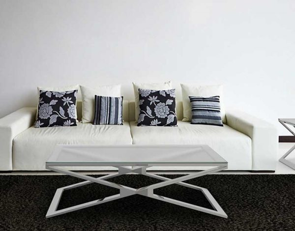 Oxana coffee table polished stainless steel Crystal acid etched