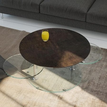 Round coffee table from Akante - steel ceramics