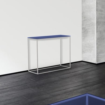 Julia ST182 Brushed Steel Console Table - Blue Tinted
