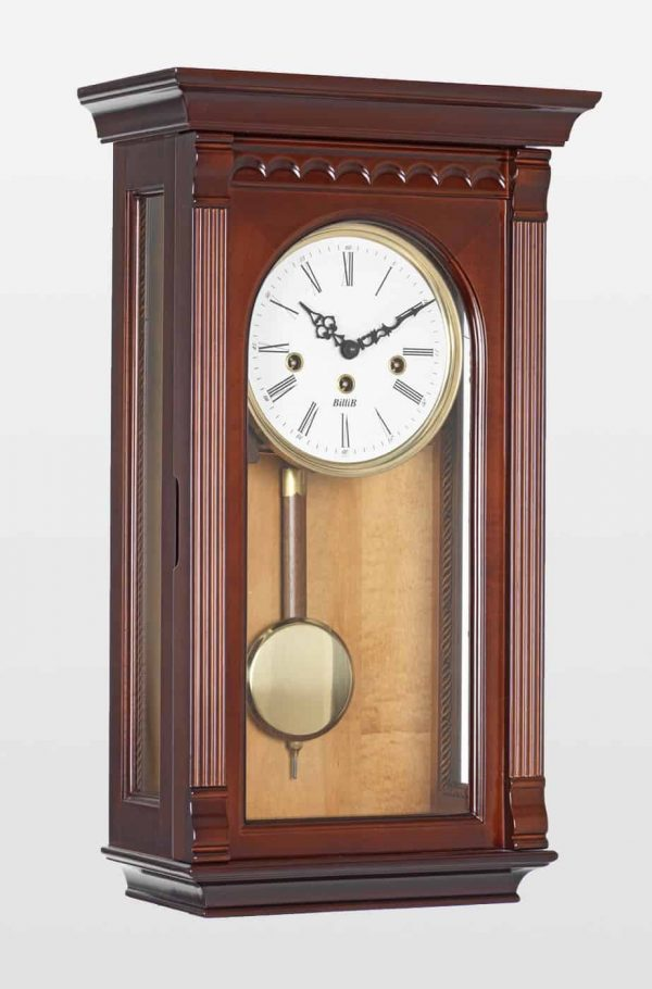 Clyde Mechanical Wall Clock In Walnut Finish