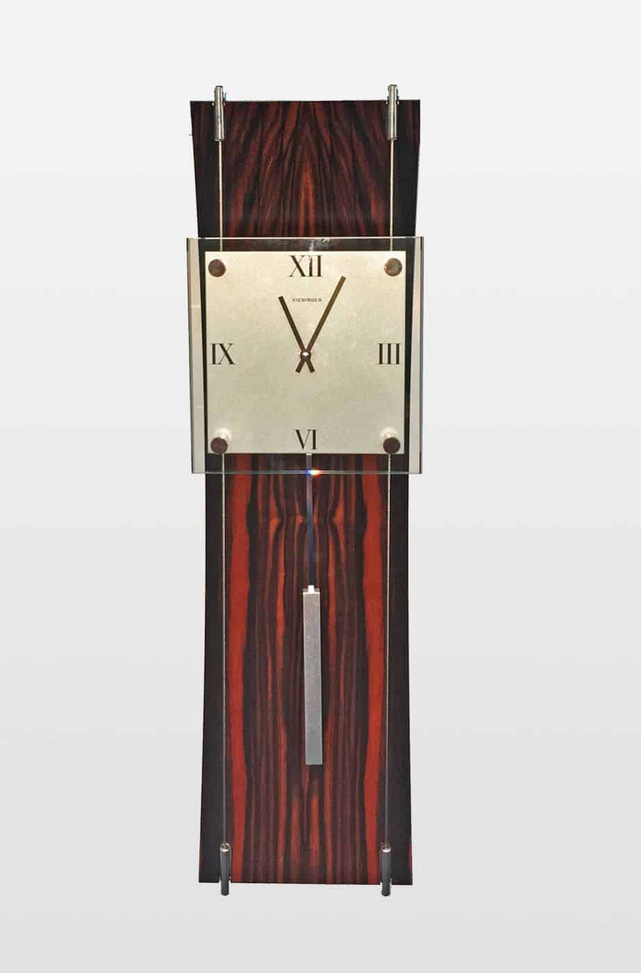 K Clock Contemporary Wall Clock in Olive Wood
