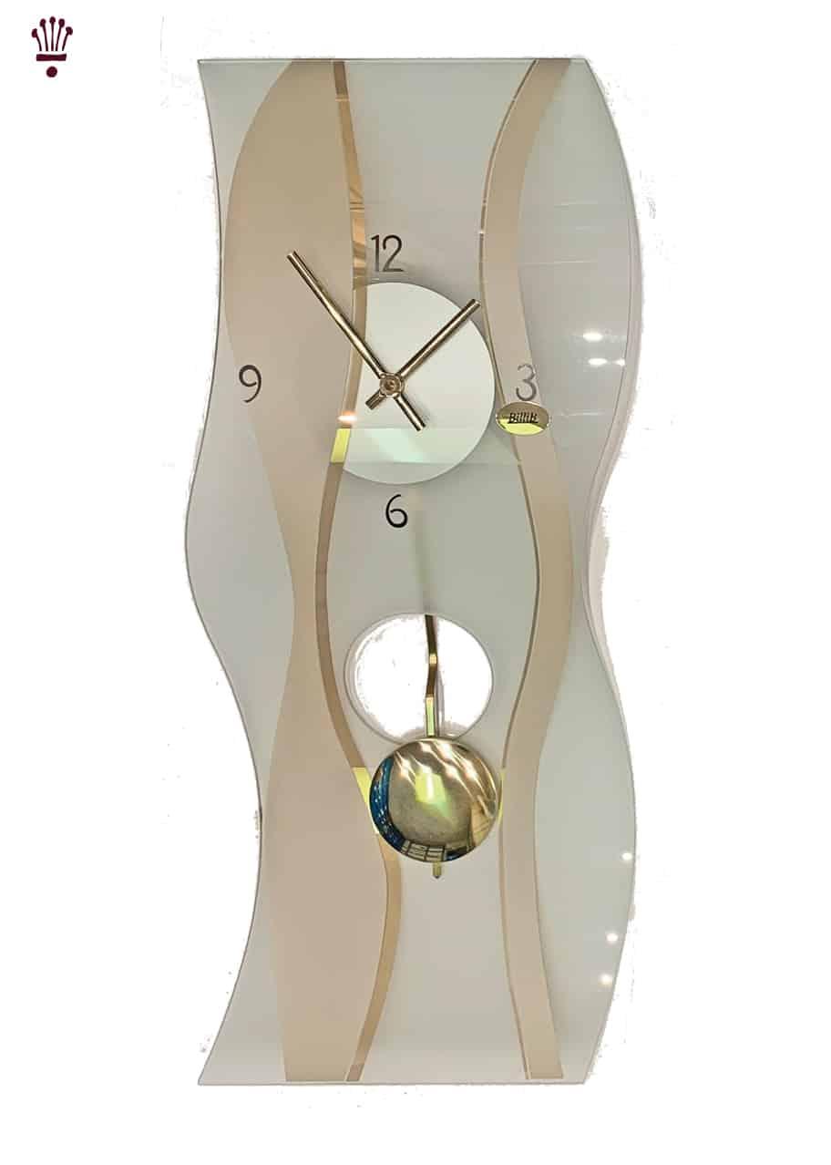 QC9061 Gold Colour Mineral Glass Quartz Wall Clock