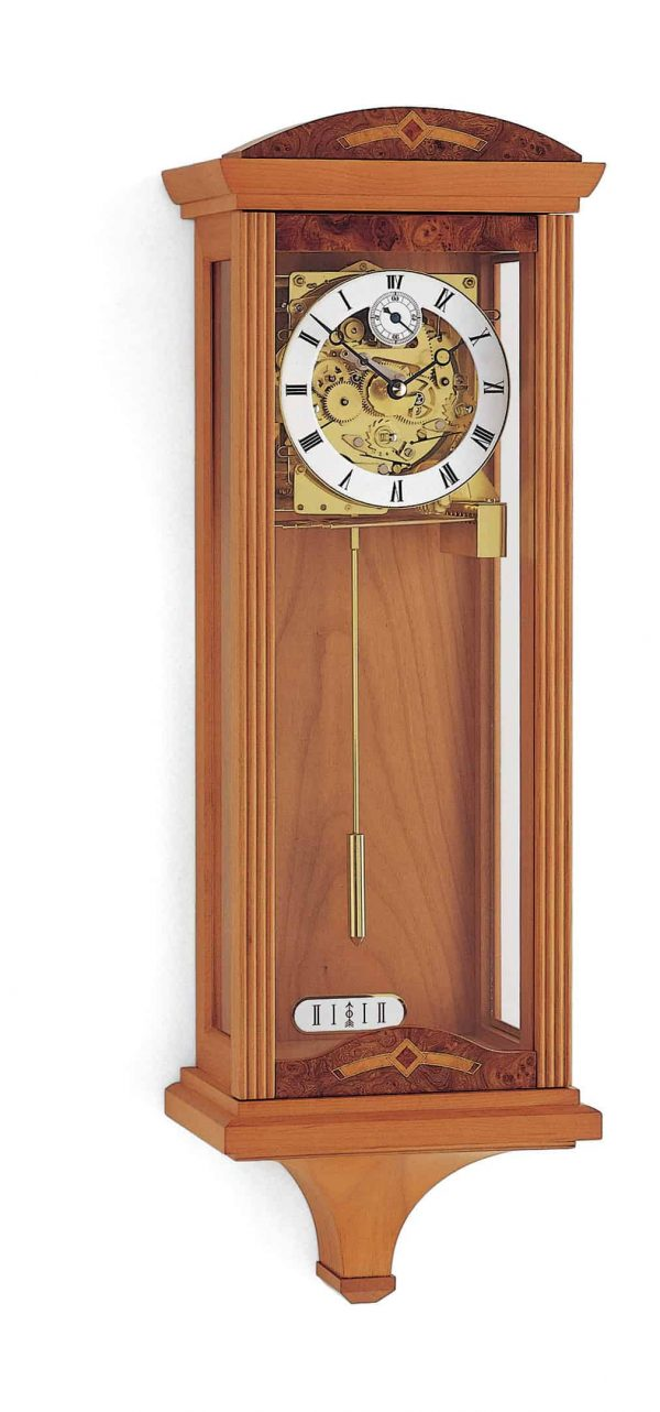 Redhill Mechanical Triple Chime Wall Clock in Cherry Finish
