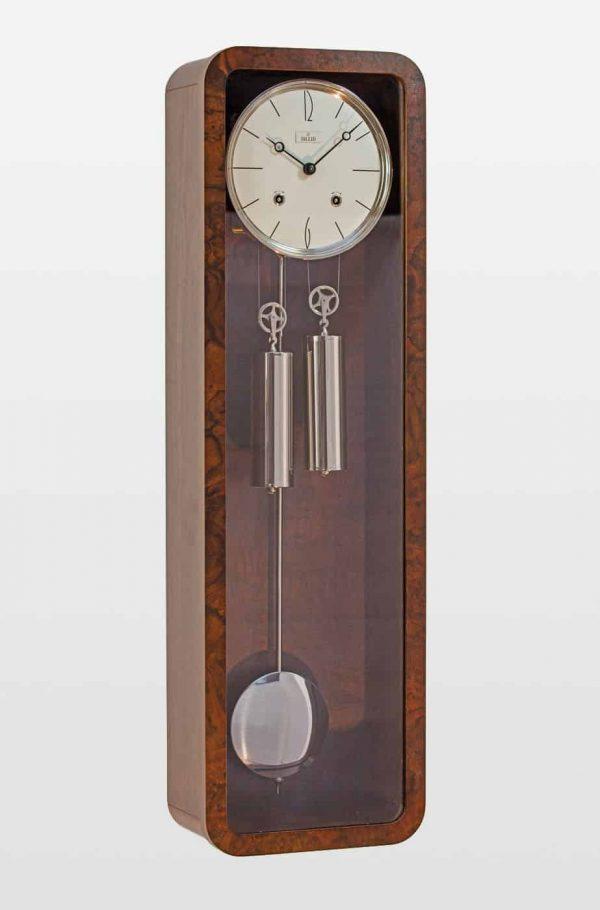 Vintage Mechanical Wall Clock in Walnut Finish