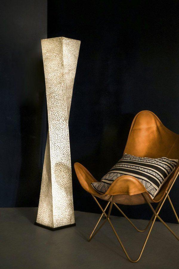Elara White Twisted Floor Lamp